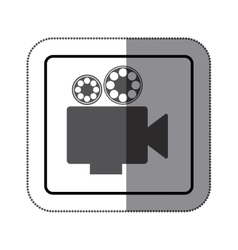 Sticker monochrome square shape with retro movie vector