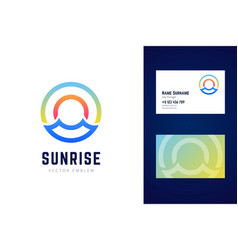 sunrise logo and business card template sea waves vector image