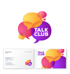 talk club logo language school colored bubbles vector image