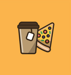 tea drink in paper cup with pizza vector image