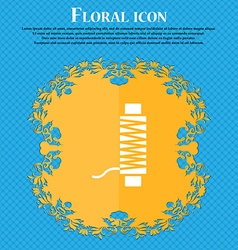 Thread Icon sign Floral flat design on a blue vector
