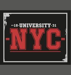 University college new york typography t-shirt vector