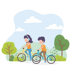 urban ecology young woman and man riding bikes in vector image