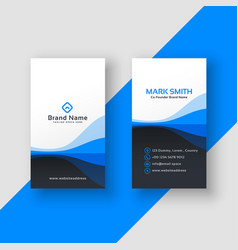 Vertical business card blue template vector