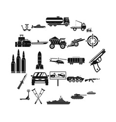 War burden icons set simple style vector