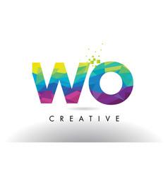 Wo w o colorful letter origami triangles design vector