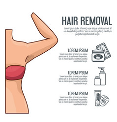woman armpit with hair removal icons vector image