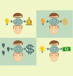Young businessman thinking about employee benefits vector