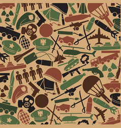 background pattern with military icons vector image vector image