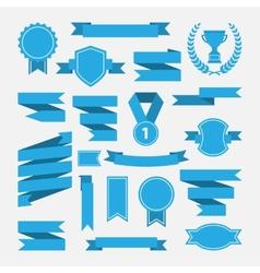 Blue ribbonsmedalawardcup set isolated on white vector image vector image