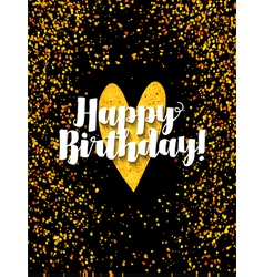 Dark happy birthday card with scattered golden gli vector image