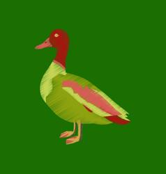 Flat shading style icon wild duck vector
