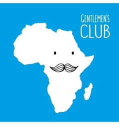 Fun moustache club cartoon Africa hand drawn map vector image