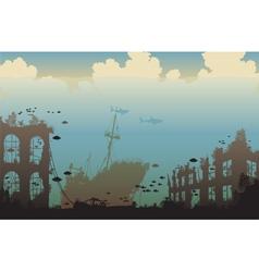 Ocean wreckage vector image vector image