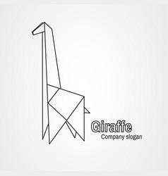origami logo contour giraffe vector image vector image