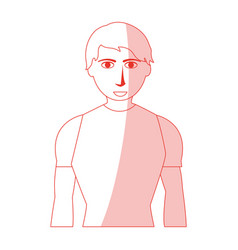 Red silhouette shading man with atlethic body vector