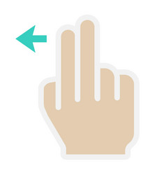 2 finger swipe left flat icon touch and gesture vector