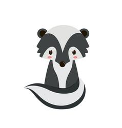 adorable cartoon sitting skunk vector image