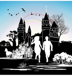 castle silhouette vector image vector image