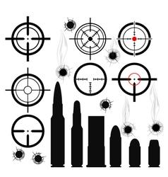 Crosshairs gun sights bullet cartridges and bullet vector image