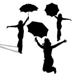 girl and umbrella vector image vector image