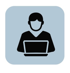 man and pc vector image