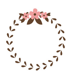 round wreath flower leaves emblem decoration vector image vector image