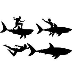 Shark rider vector image vector image