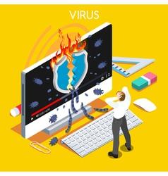 Computer Virus Isometric People vector image vector image