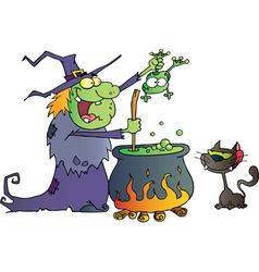 Crazy Witch With Black Cat Holding A Frog vector image vector image
