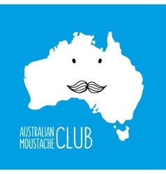 Fun moustache cartoon Australia hand drawn map vector image