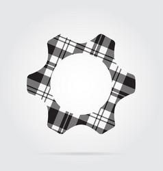 Grayscale tartan isolated icon - cogwheel vector