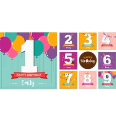 Happy Birthday set of greeting cards vector image vector image