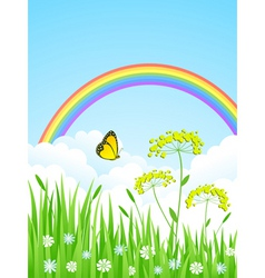 landscape with a rainbow vector image
