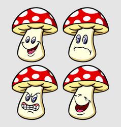 mushroom emoticon icon cartoon character vector image vector image