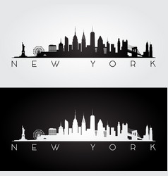 new york usa skyline and landmarks silhouette vector image