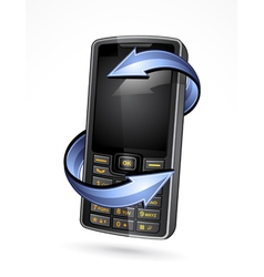 cell phone with arrows vector image