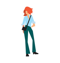Elegant fashion girl in pants and shirt vector