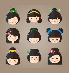 japanese kokeshi dolls heads icons vector image vector image