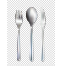 Stainless Cutlery Tableware Set Transparent vector image vector image