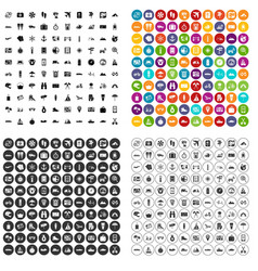 100 travel icons set variant vector image