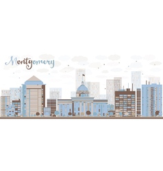 Abstract Montgomery Skyline with Color Building vector image