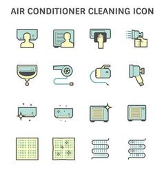 Air conditioner and compressor cleaning icon vector