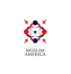 america muslim logo design symbol icon vector image