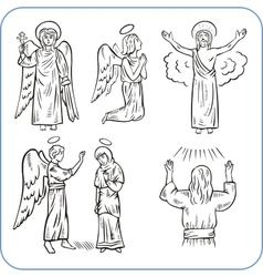 Angels and saints vector image