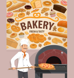 Bakery shop cakes and baker with pizza vector