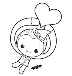 Black and white dracula mascot is holding a heart vector