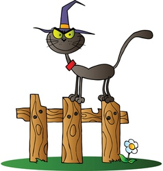 Black Cat Witch On A Fence vector image