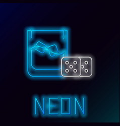 Blue glowing neon line game dice and glass of vector