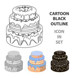 blue three-ply cake icon in cartoon style isolated vector image